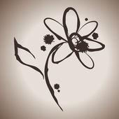 Grunge inchiostro eleganza schizzare illustrazione con fiore margherita — Vettoriale Stock