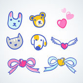 Vector style elements with animals, hearts, bows — Stock Vector