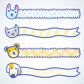 Four banners with cartoon doodle animals — Vector de stock
