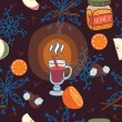 Stock Vector: Seamless pattern with glass of mulled wine, cinnamon sticks, snowflakes, honey and fruit