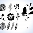 Set of various plant shapes for design — Stock Vector