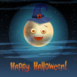 Royalty-Free Stock Vector: Illustration of cute moon in hat Happy Halloween