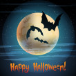 "Illustration of moon with bats ""Happy Halloween"" — Stock Vector"