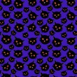 Stock Vector: Halloween seamless pattern: black cats