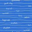 Seamless hand write stripe pattern with words: love, nature, emotion, happiness, sun, freedom, summer, friendship, good day, sea, travel — Stock Vector #26095841