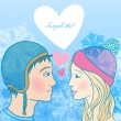 Romantic winter illustration of young couple — Stockvectorbeeld