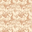 Grunge elegance ink splash seamless pattern with hearts and calligraphy — Stok Vektör