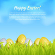 Realistic seamless border with easter eggs in grass. Gift card template. Vector illustration — Stock Vector
