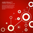 Stock Vector: Abstract modern red background of science with circles and lines. eps10