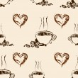 Stock Vector: Seamless coffee pattern. Vintage background