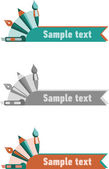 Set of three templates for logos and banners with art and design and art accessories — Stockvector