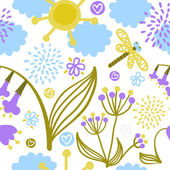 Vector seamless pattern with fantasy plants, flowers, clouds, sun and dragonfly — Stock Vector