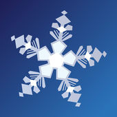 White graphic snowflake on blue background — Stock Vector