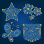 Set of cute jeans elements (star, flowers, butterfly, pocket) — Stockvektor
