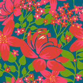 Floral seamless pattern with red flowers — Stockvektor