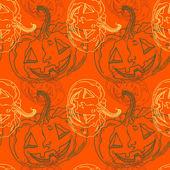 Patrón sin costuras halloween con calabazas — Vector de stock