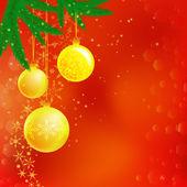 Christmas illustration of three balls, branches: frame, card, banner — Stock vektor