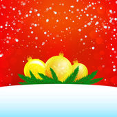 Christmas illustration of three balls, branches and snow with empty text area — Stockvector