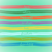 Seamless hand write stripe pattern with words: love, nature, emotion, happiness, sun, freedom, summer, friendship, good day, sea, travel — Stock Vector