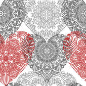 Seamless pattern with lace hearts — ストックベクタ