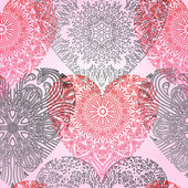 Seamless pattern with lace hearts — Stock Vector