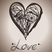 Ilustración de salpicaduras de tinta grunge elegancia del corazón — Vector de stock