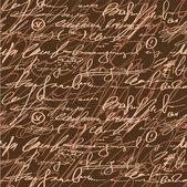 Sömlös brun elegans hand skriva mönster — Stockvektor