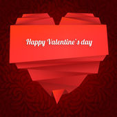 Origami paper heart with message: Happy Valentine's day — Stock Vector