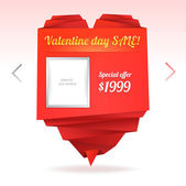 Template for on-line shop with origami paper heart with place for photo and message: Valentine's day sale — Stockvektor