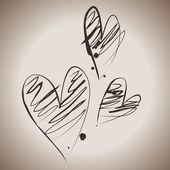иллюстрация с три гранж сердца — Cтоковый вектор