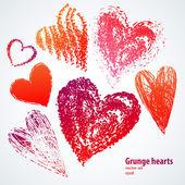 Corações de grunge em fundo branco. set vector — Vetor de Stock