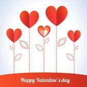 Modny ilustracja pięć czerwone serca jak kwiaty — Wektor stockowy