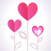 Mode illustration de trois coeurs roses comme des fleurs — Vecteur