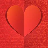 Papier hart met gouden hand schrijven patroon — Stockvector