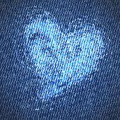 Valentine jeans grunge heart background — Stock Vector
