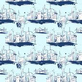 Grunge elegance ink splash seamless pattern of city — Stock Vector