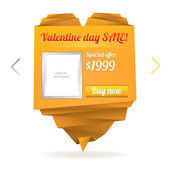Template for on-line shop with origami paper heart with place for photo and message: Valentine's day sale — ストックベクタ