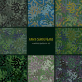 Set of nine seamless camouflage patterns — Stock Vector