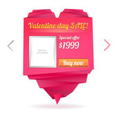 Template for on-line shop with origami paper heart with place for photo and message: Valentine's day sale — Vettoriale Stock