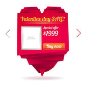 Template for on-line shop with origami paper heart with place for photo and message: Valentine's day sale — Stock Vector