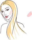 Elegancja linii sztuki: kobieta z długimi włosami — Wektor stockowy