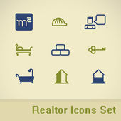 Vector real estate icons. Realtor icon set. EPS 8 — Stock Vector