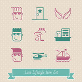 Luxe lifestyle funny icon set. EPS 8 — Stock Vector