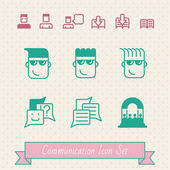 Communication hipster icon set. EPS 8 — Stock Vector