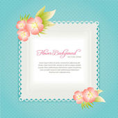 Azure card template with flowers in pastel colors — Stock Vector