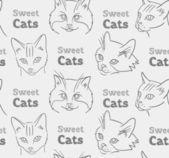 无缝模式与滑稽的猫和书法 — 图库矢量图片