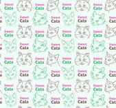 Bezešvé vzor s funny koček a kaligrafie — Stock vektor