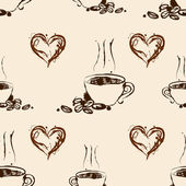 Seamless coffee pattern. Vintage background — Stockvektor