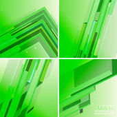 Set of four techno green abstract backgrounds — Stock Vector
