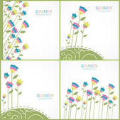 Set of summer backgrounds with bright bellflowers — Stock Vector